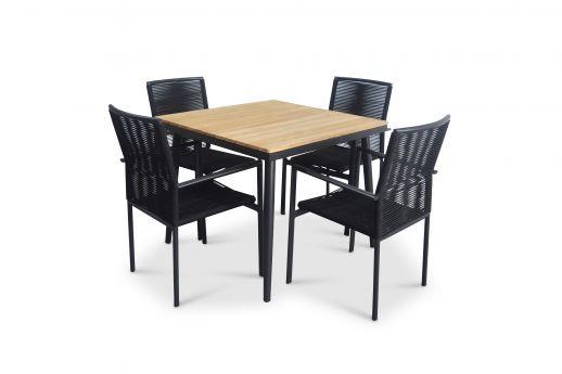 Beton Teak Wood Square Table Set