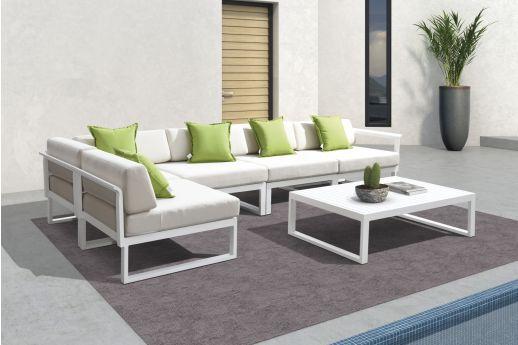 Glenn Aluminum Corner Sofa Set WHITE