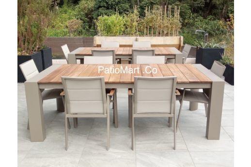 Glenn Aluminum Teak Wood Extension Table Set
