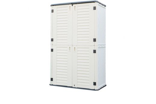 Outdoor HDPE Vertical Shed w/ 4 Shelves and Vertical Partition