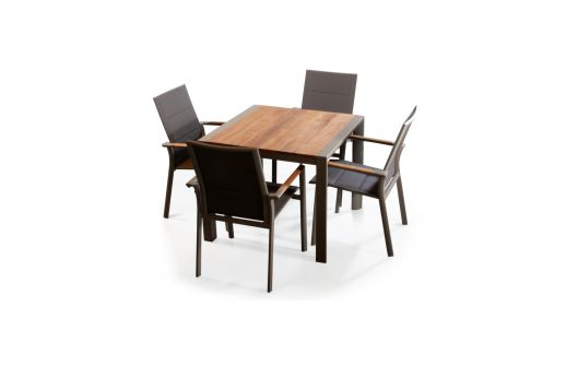 Brookvale Aluminum Teak Wood Square Table Set