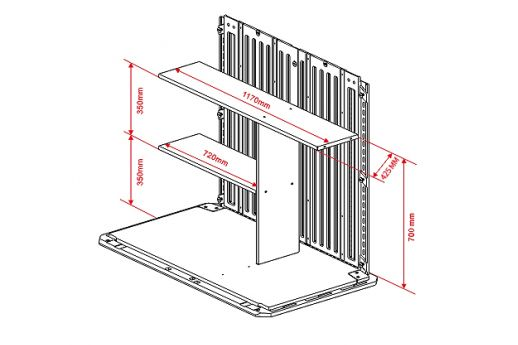 Outdoor HDPE2Shelves and Vertical PartitionforHorizontal Split Lid Storage Shed